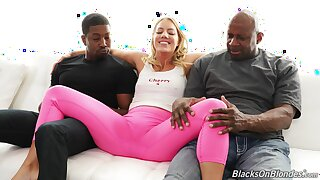 Young blonde with awning ass, crazy ebony threesome on the couch